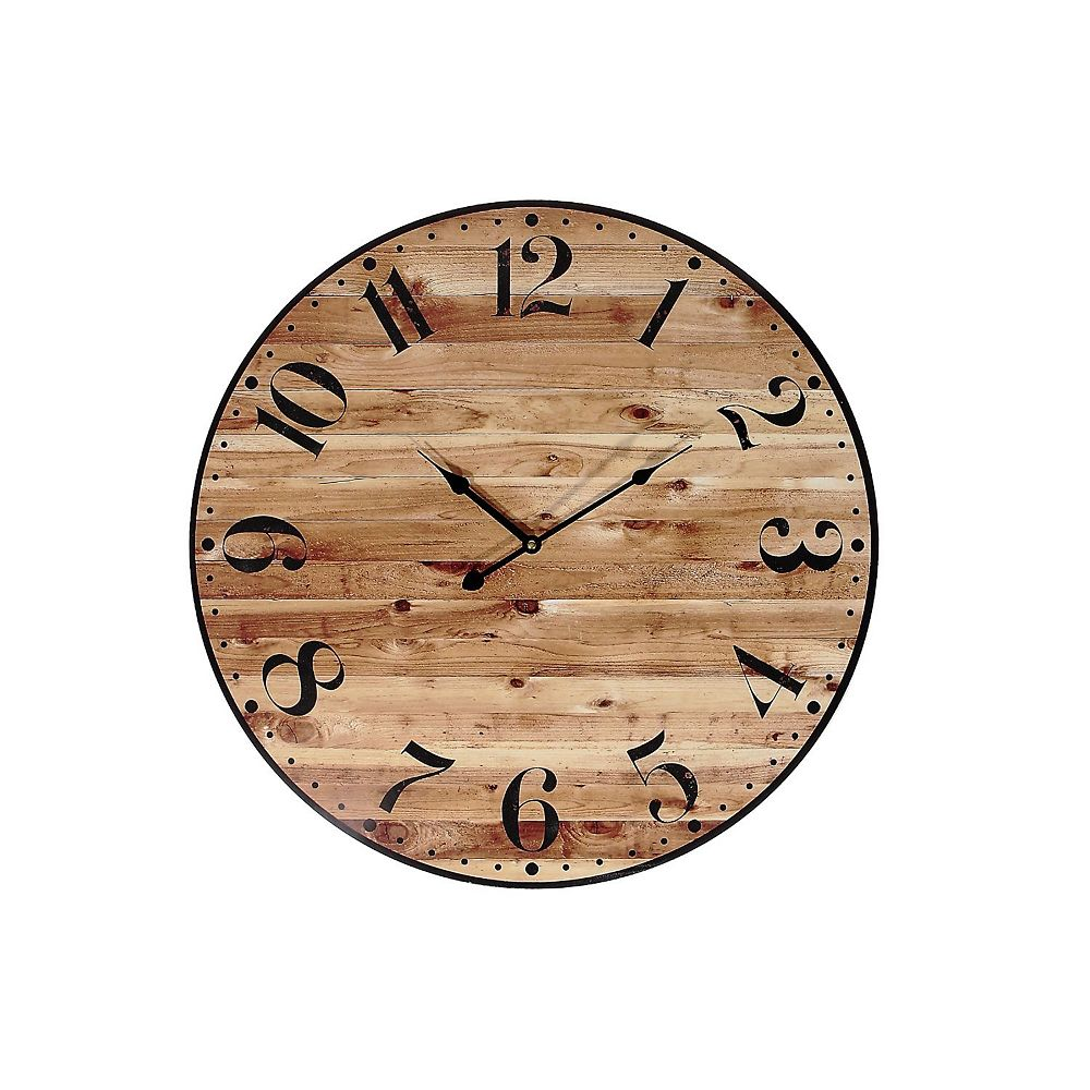 "IH Casa Decor Round Mdf Wall Clock (Faux Wood) (24"" Dia)"