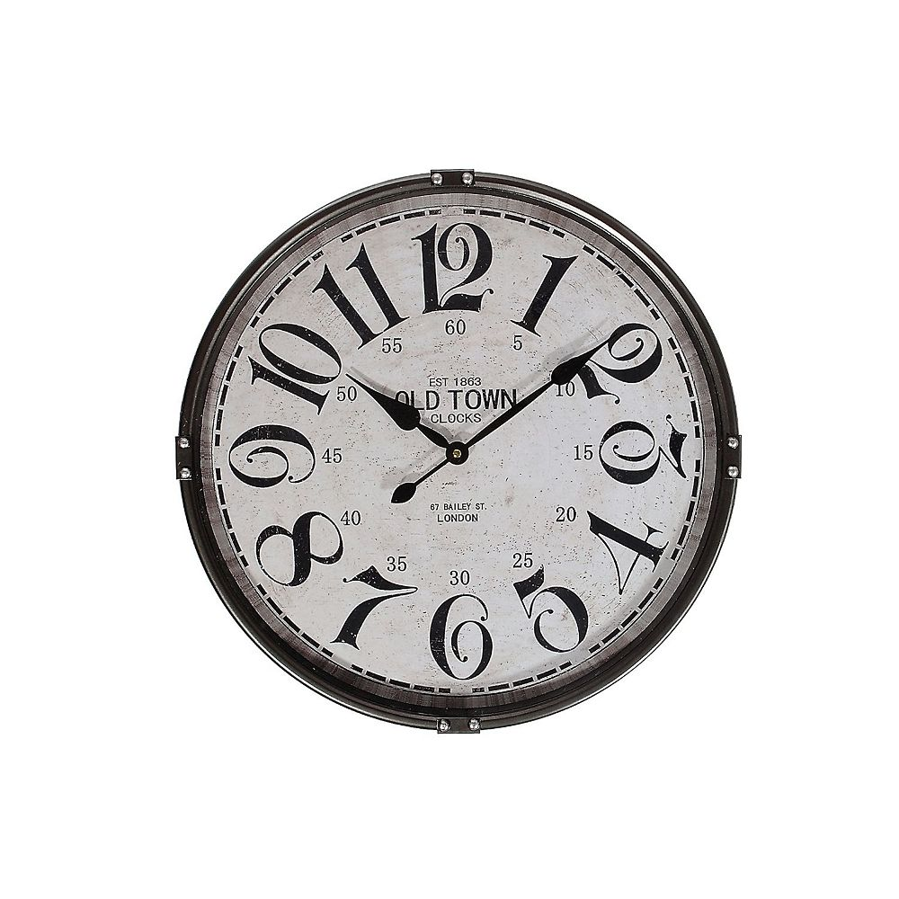 "IH Casa Decor Round Metal Wall Clock With Glass (Charcoal) (21"" Dia)"