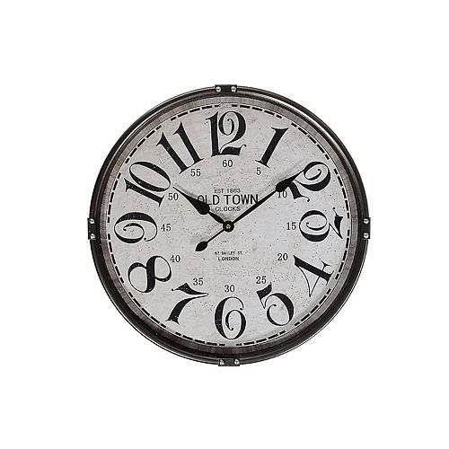 """Round Metal Wall Clock With Glass (Charcoal) (21"""" Dia)"""