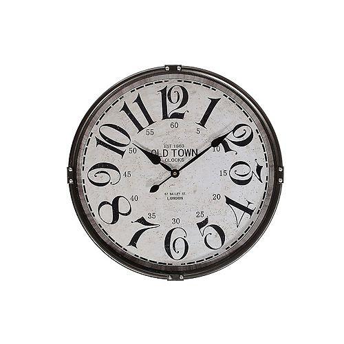 """Round Mur Métal Horloge Avec Verre (Charbon De Bois) (21"""" Dia)-Set of 0"""