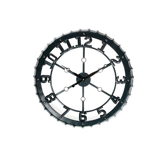"Round Metal Wall Clock (Teal) (24"" Dia)"