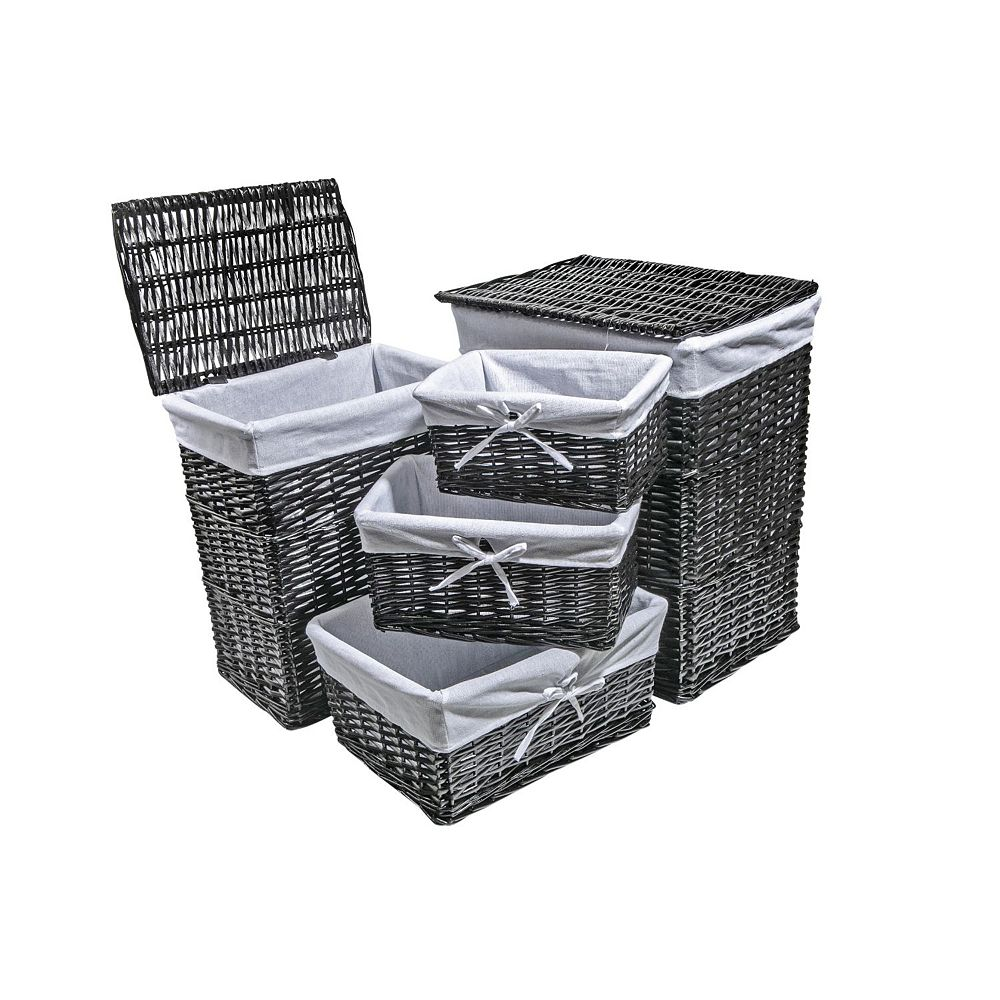 IH Casa Decor Set Of 2 Rect. Wicker Hamper With 3 Baskets (Black)