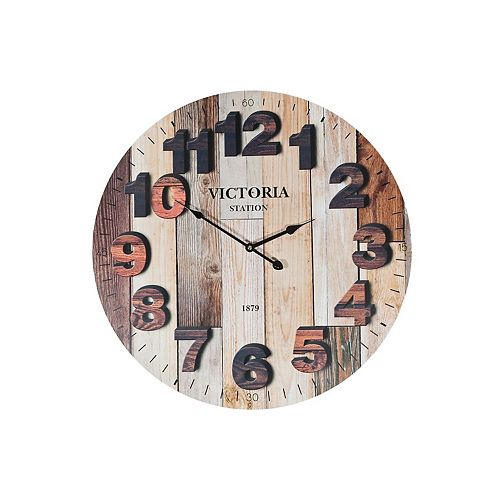 "Round Mdf Wall Clock (Faux Wood Print) (23"" Dia)"