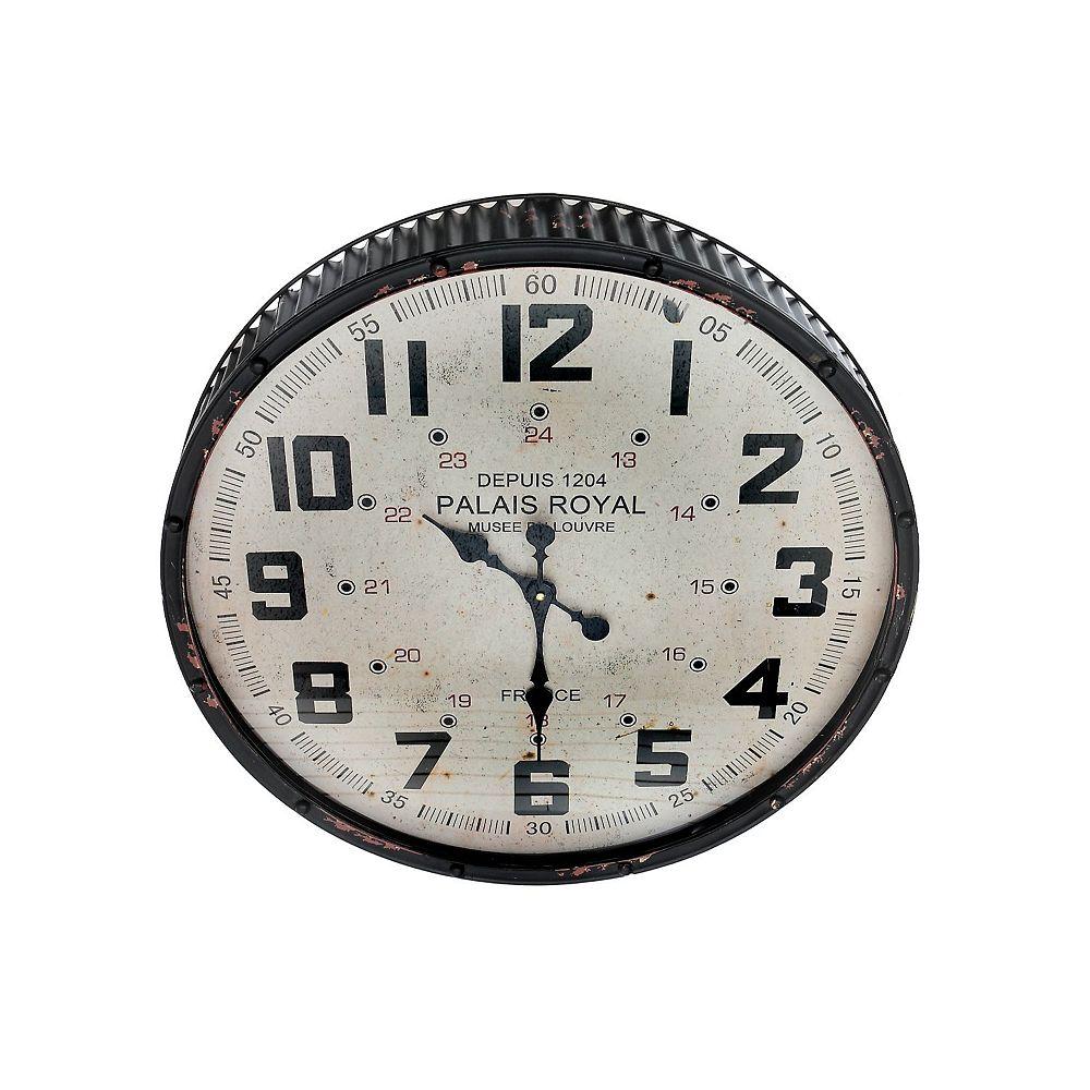 IH Casa Decor Vintage Metal Round Rippling Edge Wall Clock With Glass (Black)
