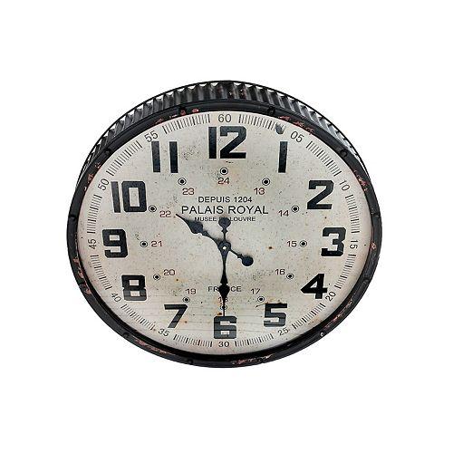 Rippling Vintage Round Métal Bord Horloge Murale Avec Verre (Noir)-Set of 0