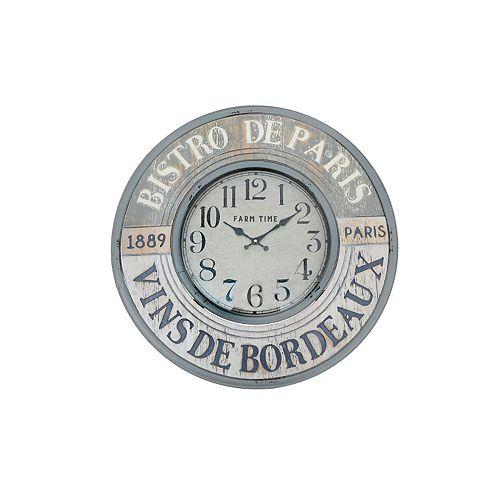 """Round Metal Wall Clock With Glass (Bistro De Paris) (24"""" Dia)"""