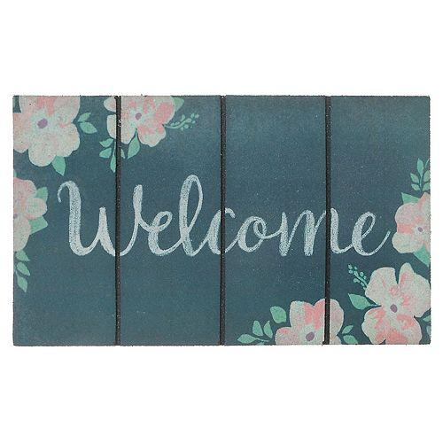 Heavy Rubber Door Mat (18X30) (Floral Welcome)