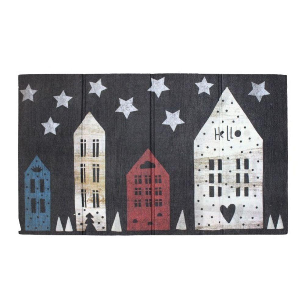 IH Casa Decor Heavy Rubber Door Mat (18 X 30) (House And Stars)