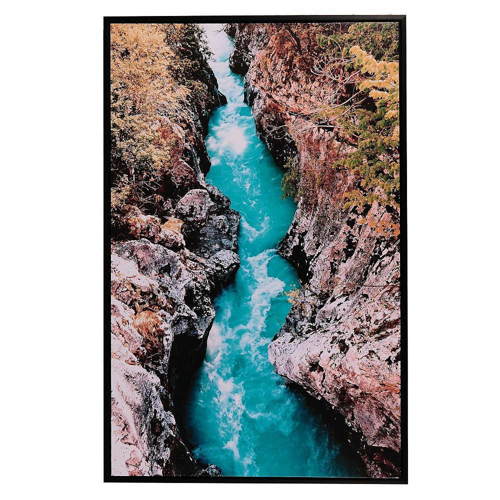 IH Casa Decor Framed Canvas Wall Art (Gushing Waters) (24 X 36)