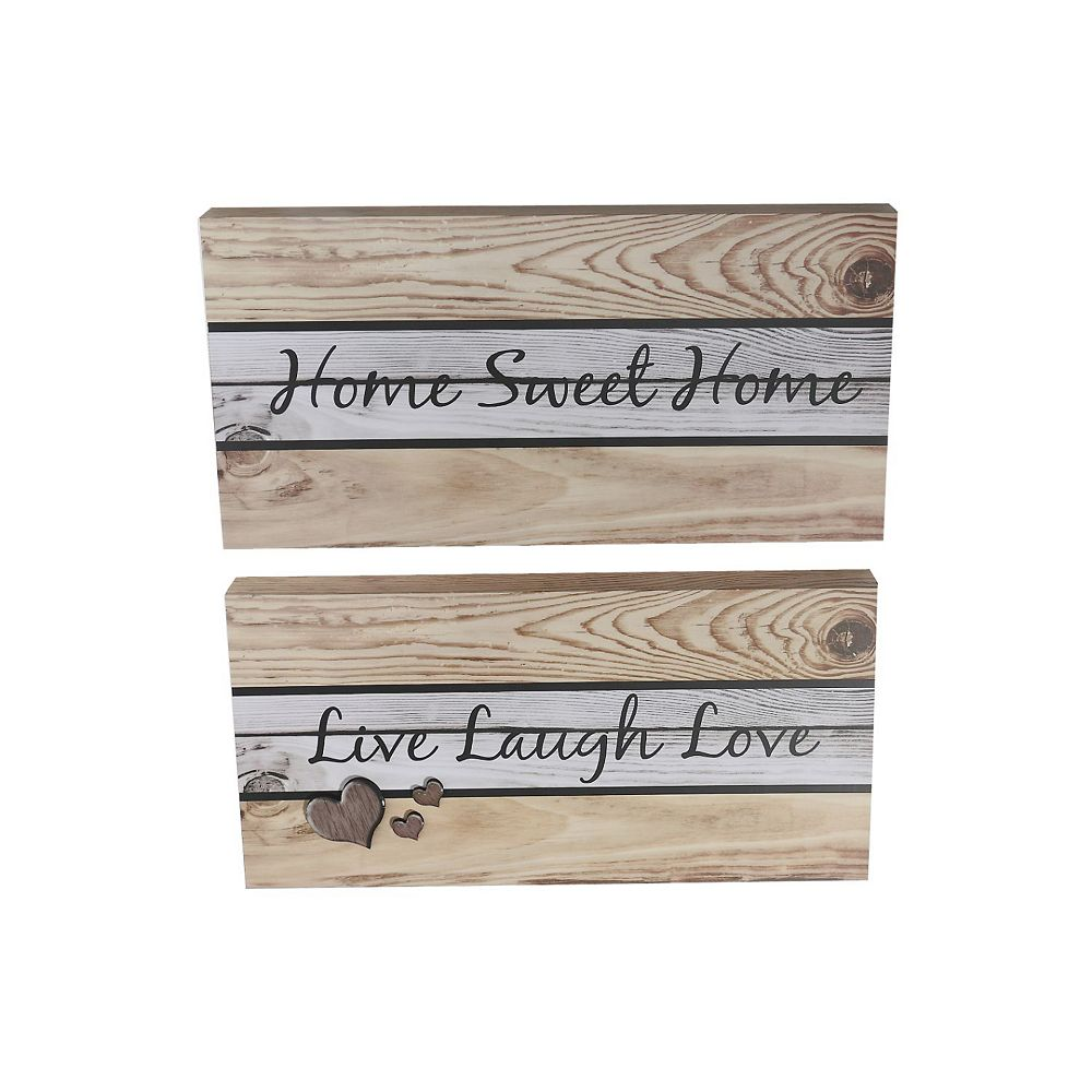 IH Casa Decor Rect. Faux Wood Wall Sign (Home/Laugh) (Asstd)-Set of 2