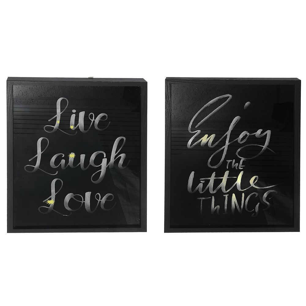 IH Casa Decor Led Framed Black Glass Wall Sign (Laugh/Enjoy) (Asstd)-Set of 2