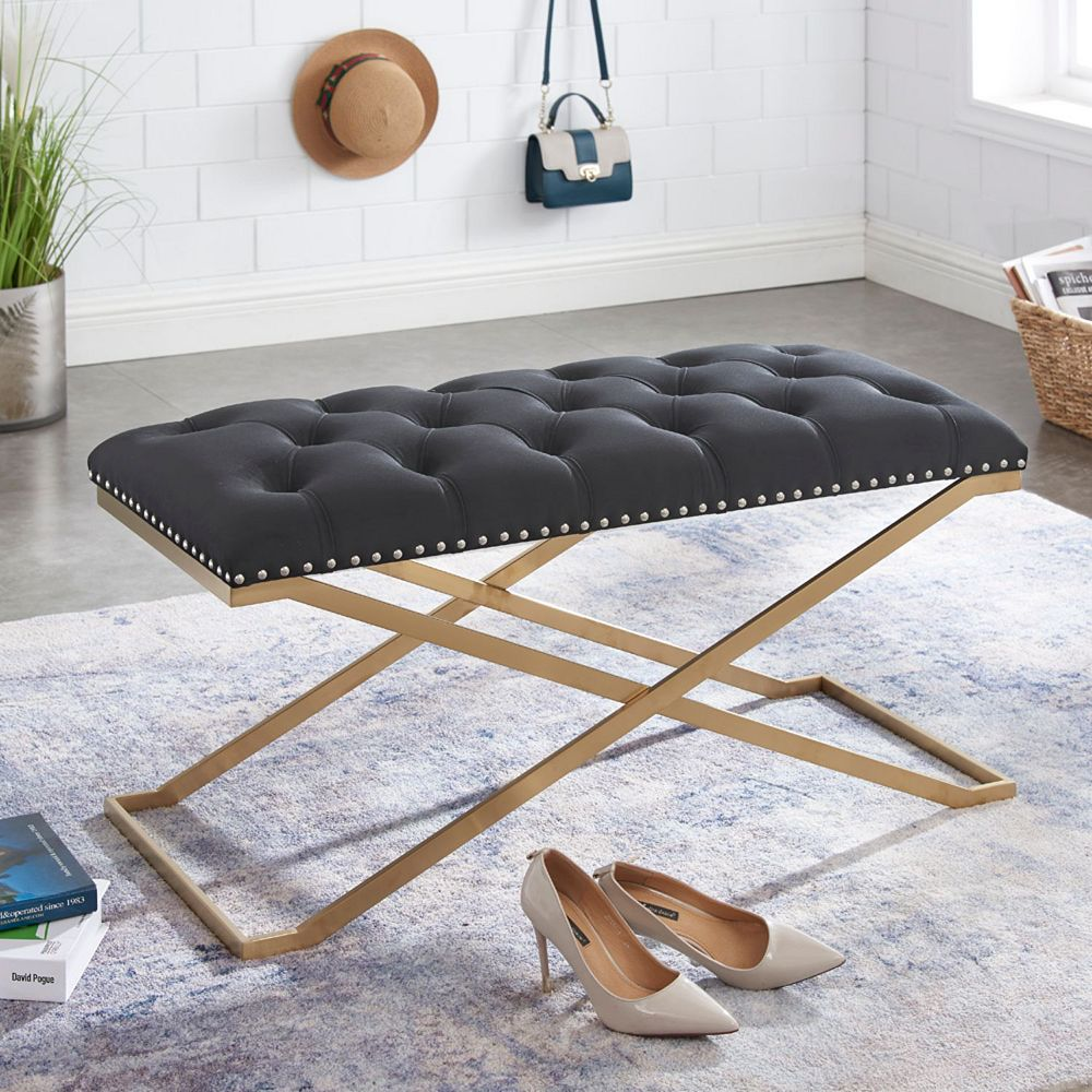 IH Casa Decor Imperial Tufted Double Bench With Gold X Base (Black)