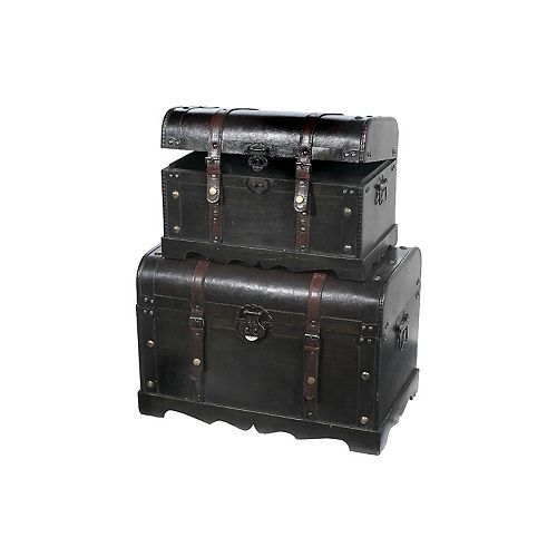 Pleather And Wood Storage Trunk (Set Of 2)