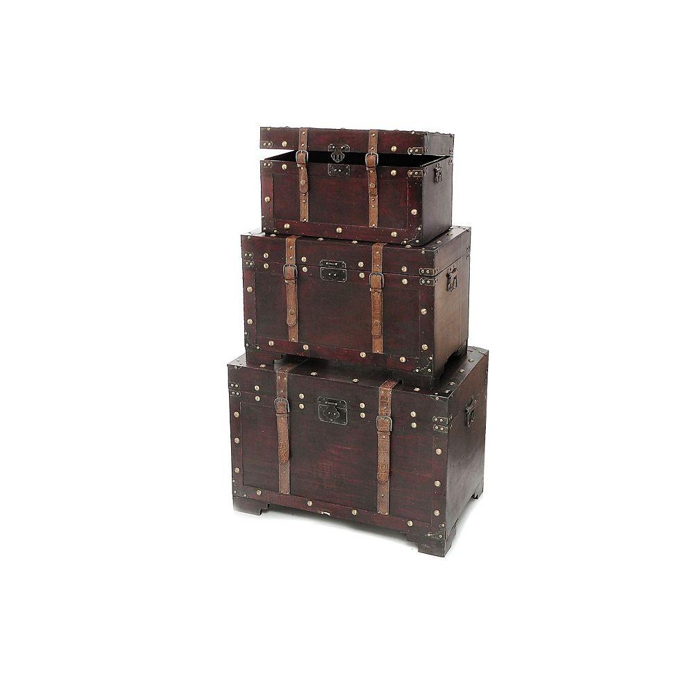 IH Casa Decor Wooden Storage Trunk (Straight Edge) (Set Of 3)