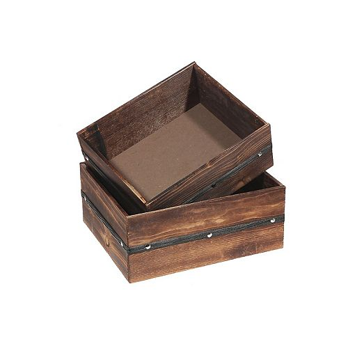 Octagon Wood Plank Planter With Liner (Set Of 2)