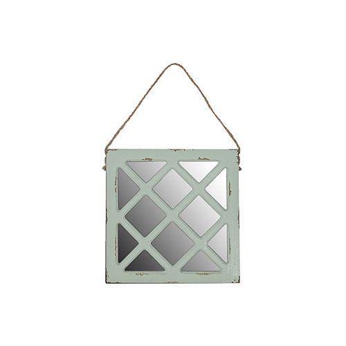 Square Hanging Wooden Mirror Decor (Light Green)