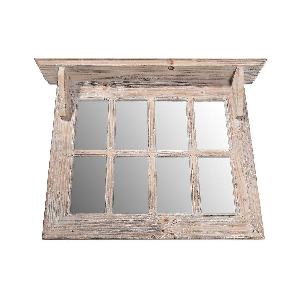 IH Casa Decor Wood Window Pane Mirror With Shelf