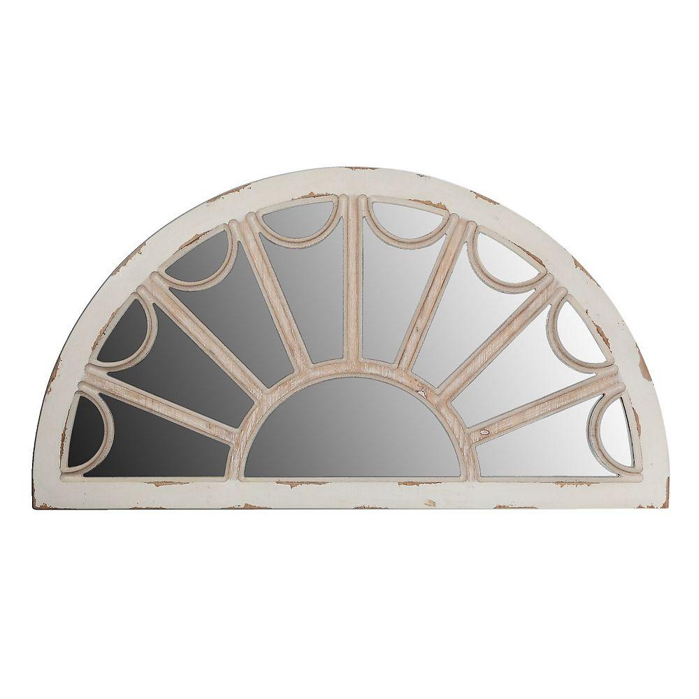 IH Casa Decor Distressed Wood Window Pane Mirror (Halfmoon)