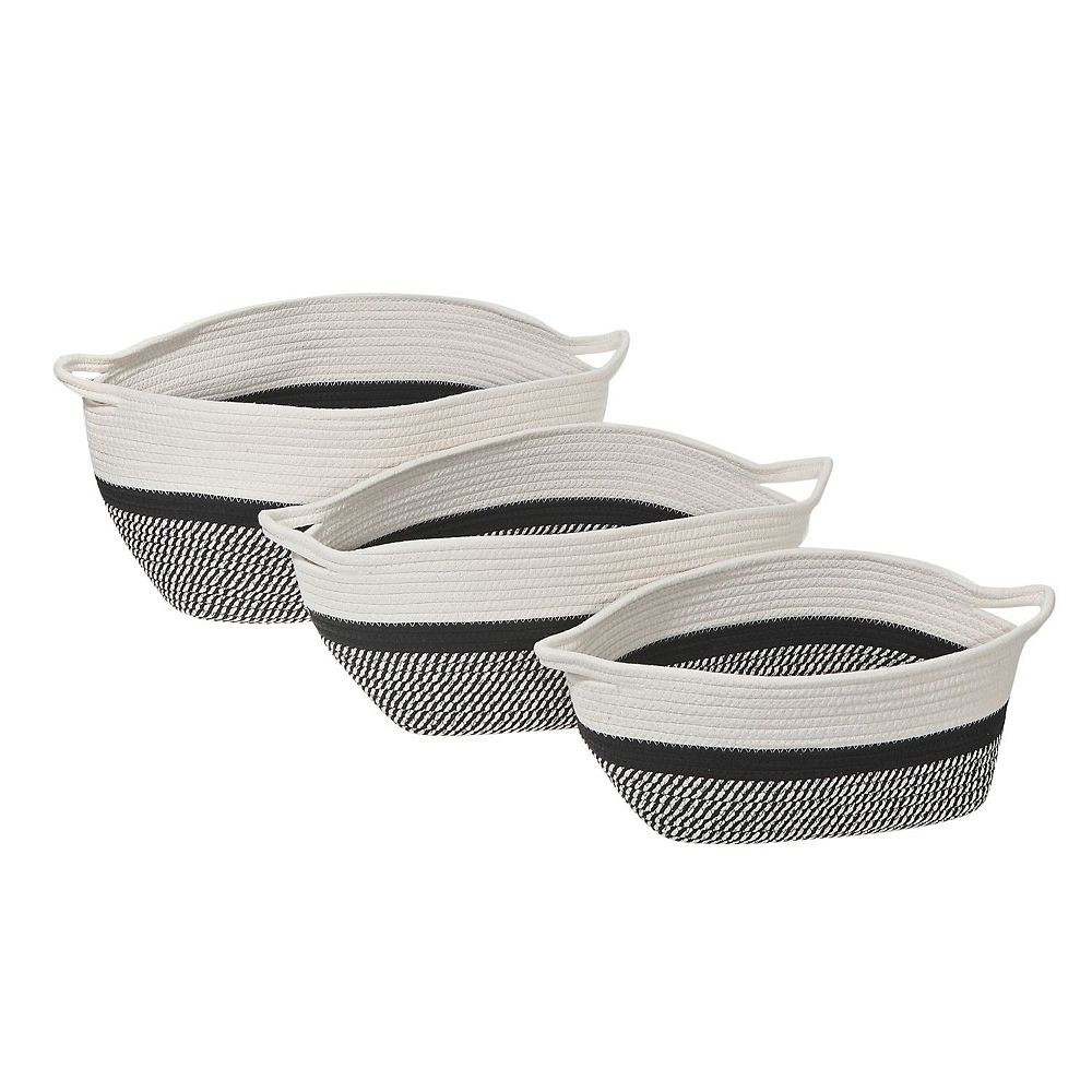 IH Casa Decor 3Pc Oval Nesting Cotton Rope Basket With Handle (Black+White)
