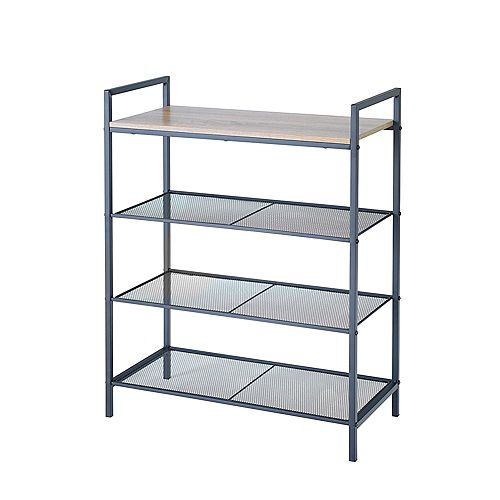 4 Tier Shelf Storage w Wood Grain Top