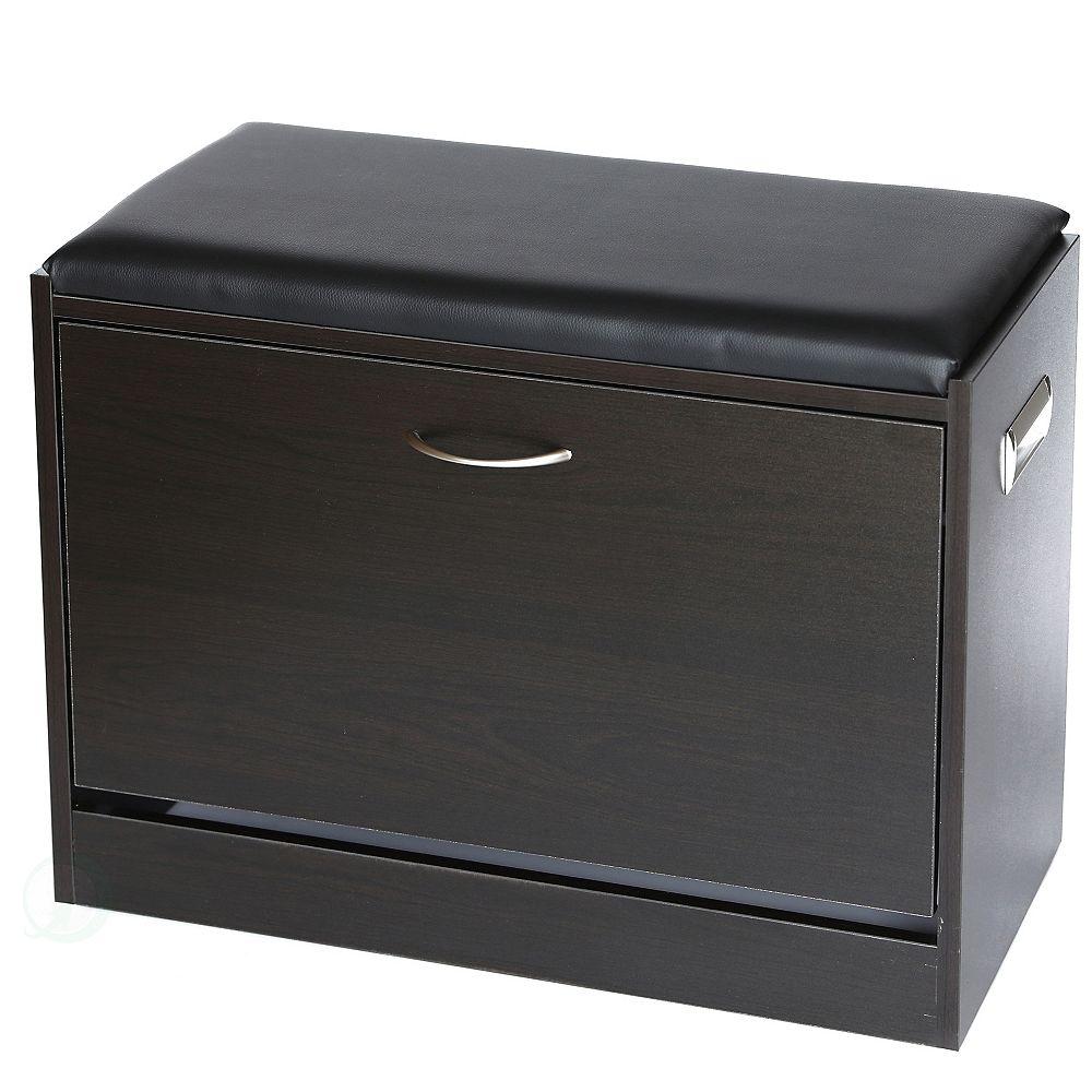 Basicwise Black Wooden Fold-out Shoe Organizer - Shoe Storage Bench with Leather Cushion