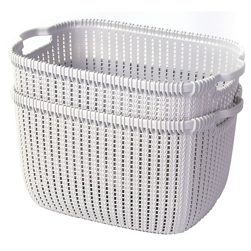 Basicwise Plastic Wicker Basket Grey Large, Set of 2