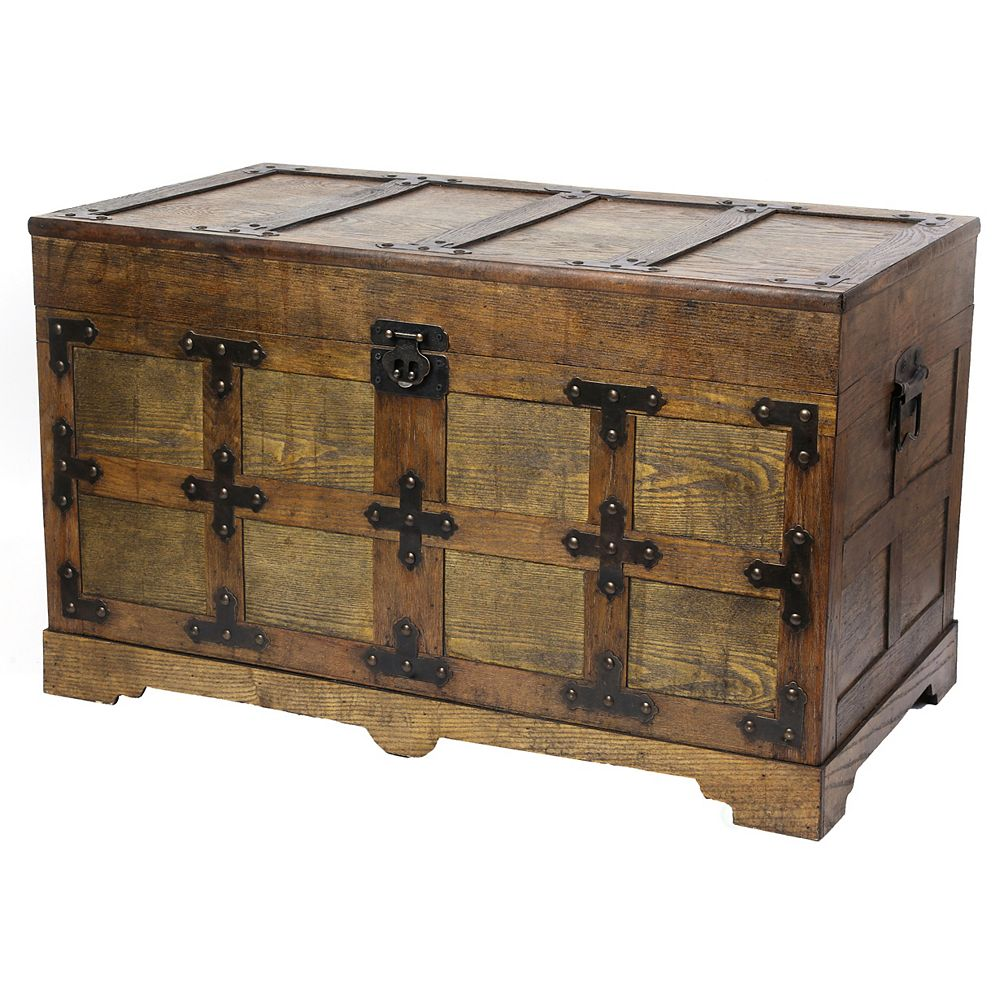 Vintiquewise Rustic Natural Wooden Streamer Trunk with Studded detail, Medium