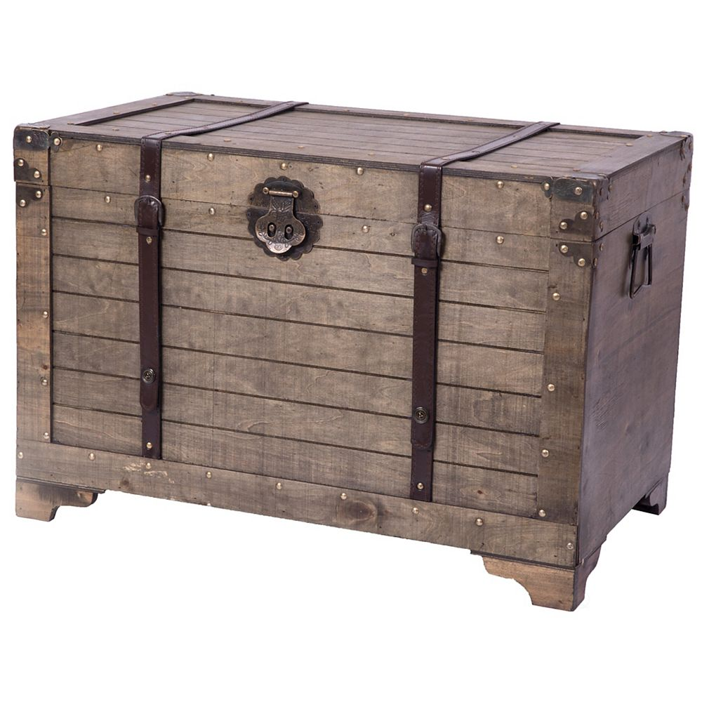 Vintiquewise Old Fashioned Large Natural Wood Storage Trunk and Coffee Table
