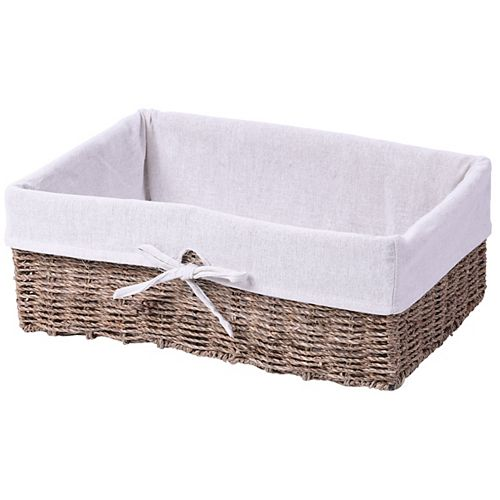 Vintiquewise Large Seagrass Shelf Storage Basket with White Lining