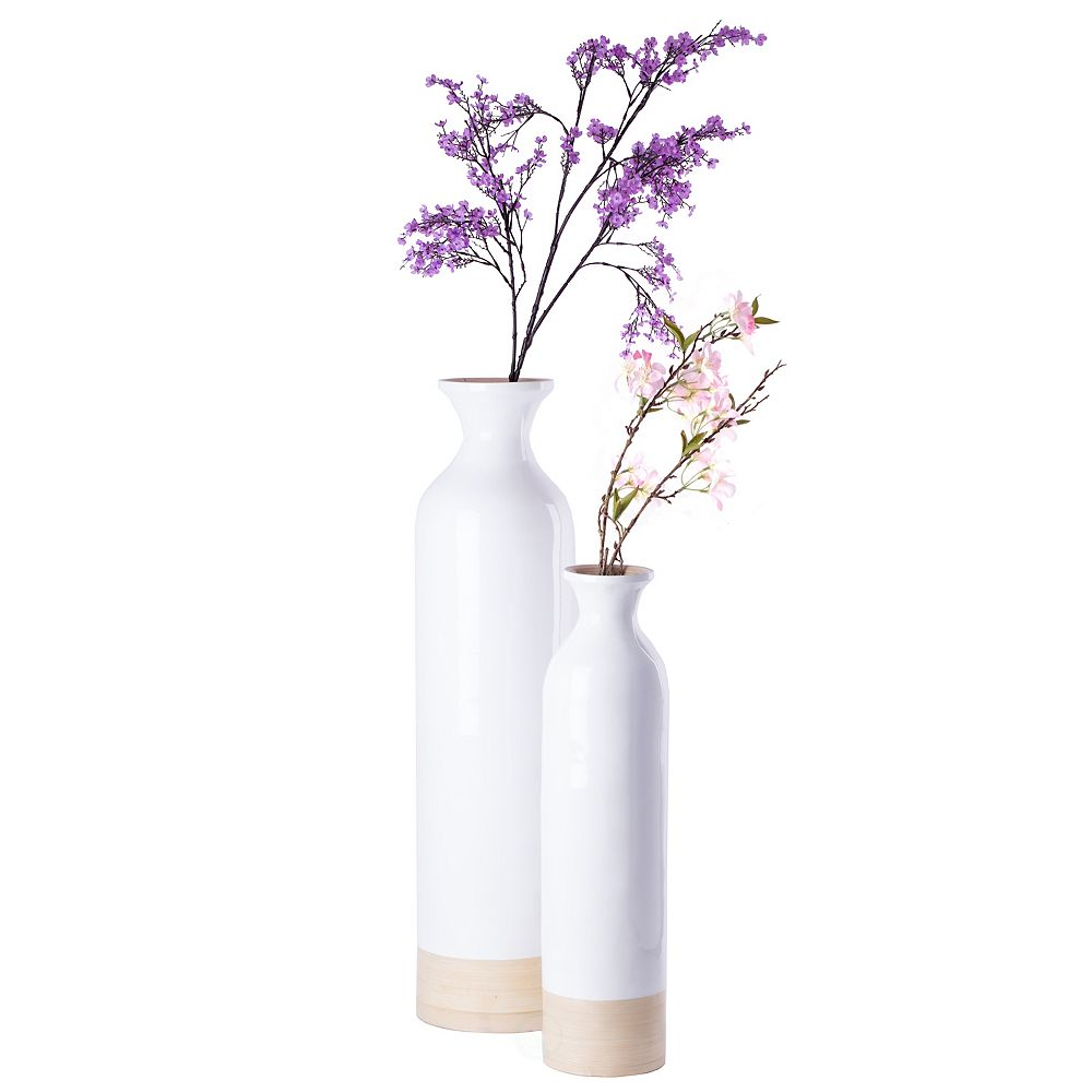 Uniquewise Cylinder Shaped Tall Spun Bamboo Floor Vase Glossy White Lacquer and Natural Bamboo Finish, Set of 2