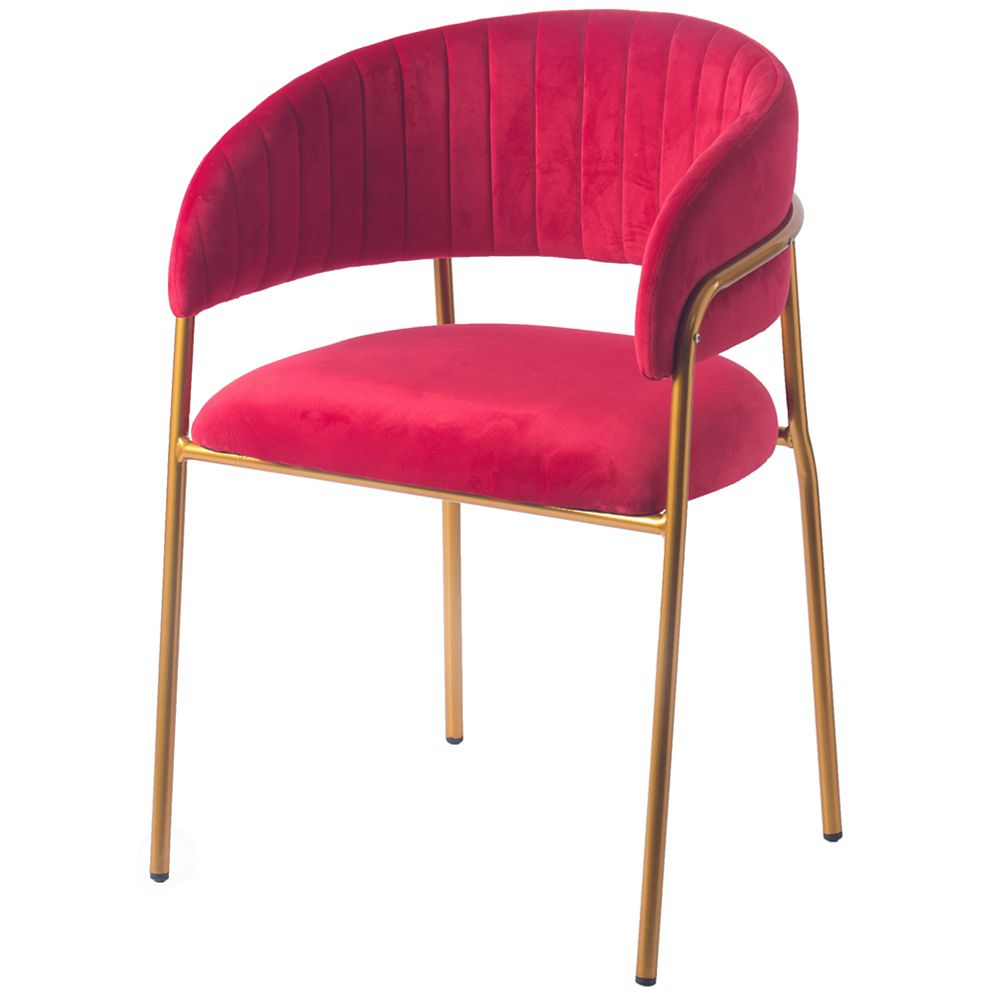 Bold Tones Red Silk Velvet and Gold Metal Modern Chair