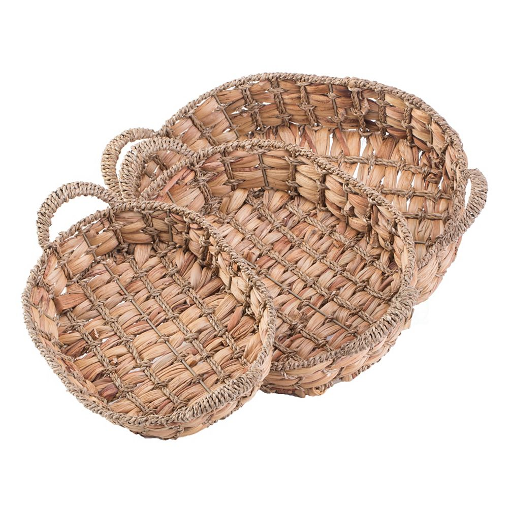 Vintiquewise Seagrass Fruit Bread Basket Tray with Handles, Set of 3