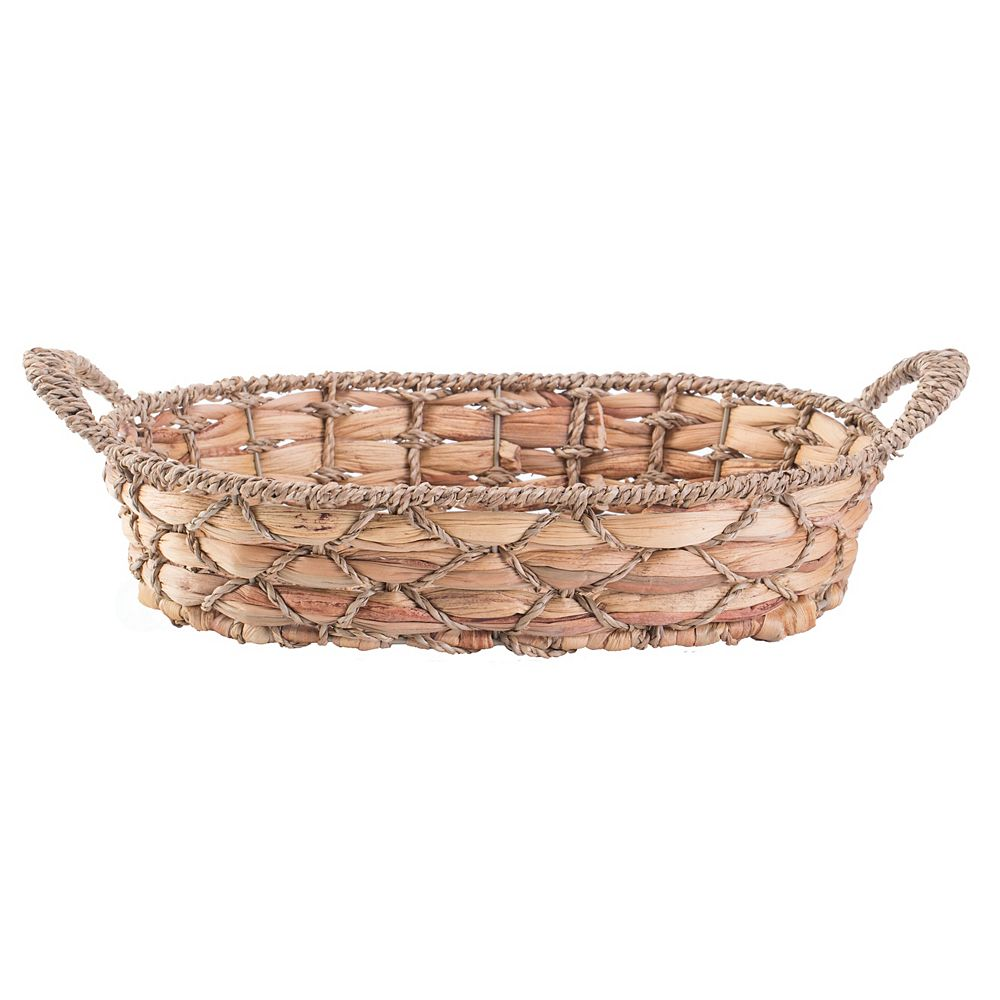 Vintiquewise Set of 4 Seagrass Fruit Bread Basket Tray with Handles, Medium