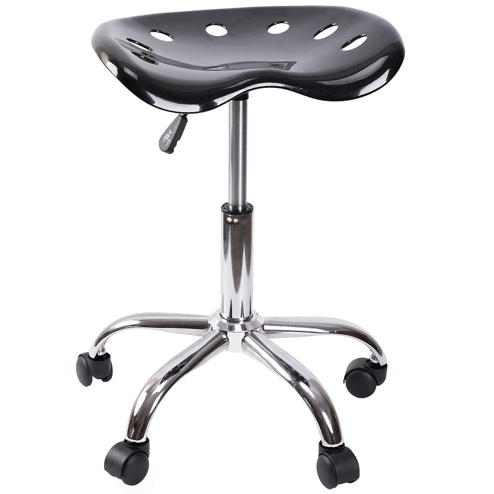 Bold Tones Modern Tractor Seat Swivel Chair with Adjustable Height and Casters, Black