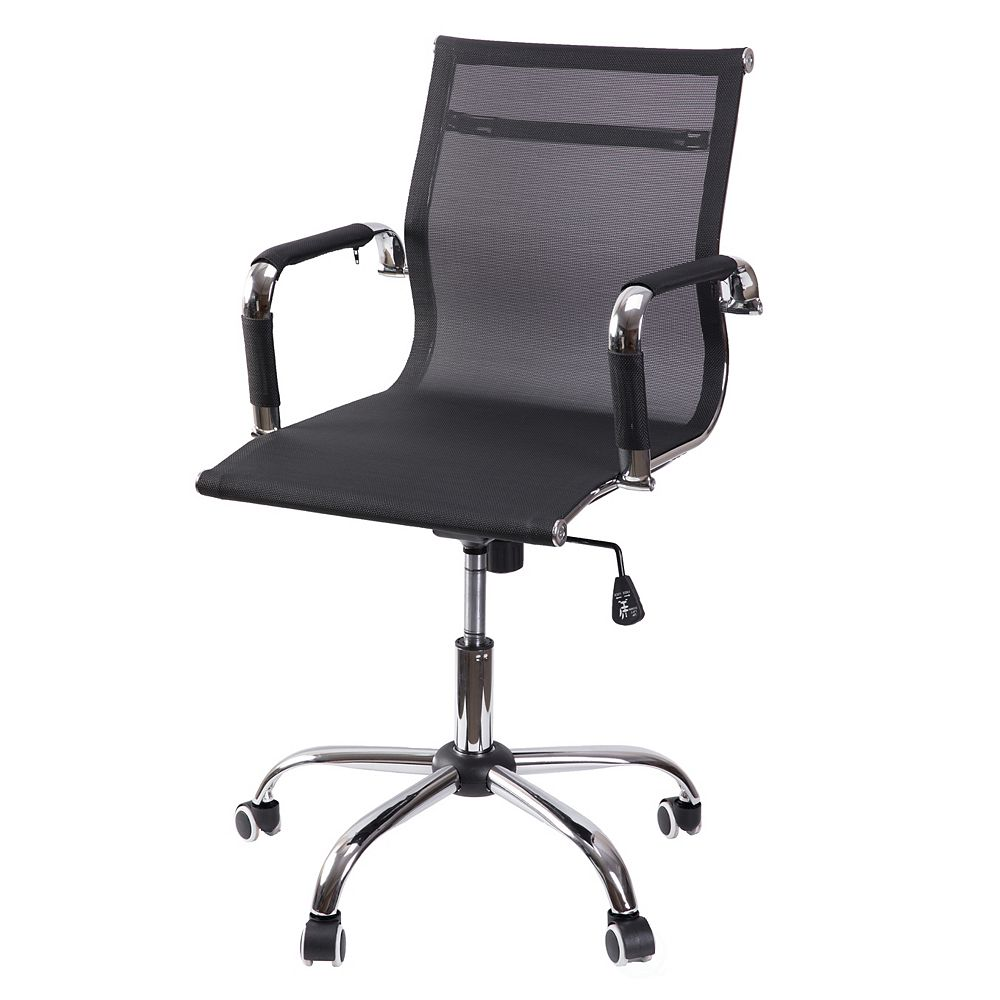 Bold Tones Mesh Swivel Office Chair with Adjustable Height and Casters, Black