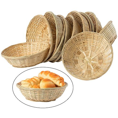 Set of 12 Round Bamboo Serving Wicker Bread Roll Baskets Display Tray, Small