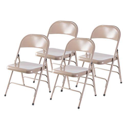 Beige Full Metal courbé Triple Renforcé Chaise pliante, Set of 4