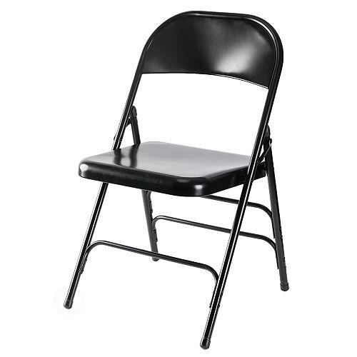 Full Metal courbé Triple Renforcé Chaise pliante, Noir