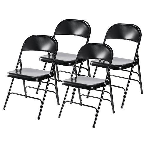 Noir Full Metal courbé Triple Renforcé Chaise pliante, Ensemble de 4