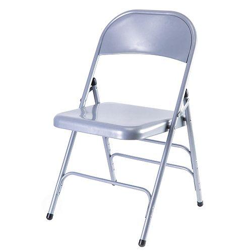 Bold Tones Full Metal Curved Triple Braced Folding Chair, Gray