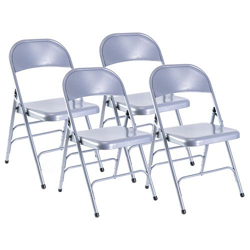 Bold Tones Gray Full Metal Curved Triple Braced Folding Chair, Set of 4