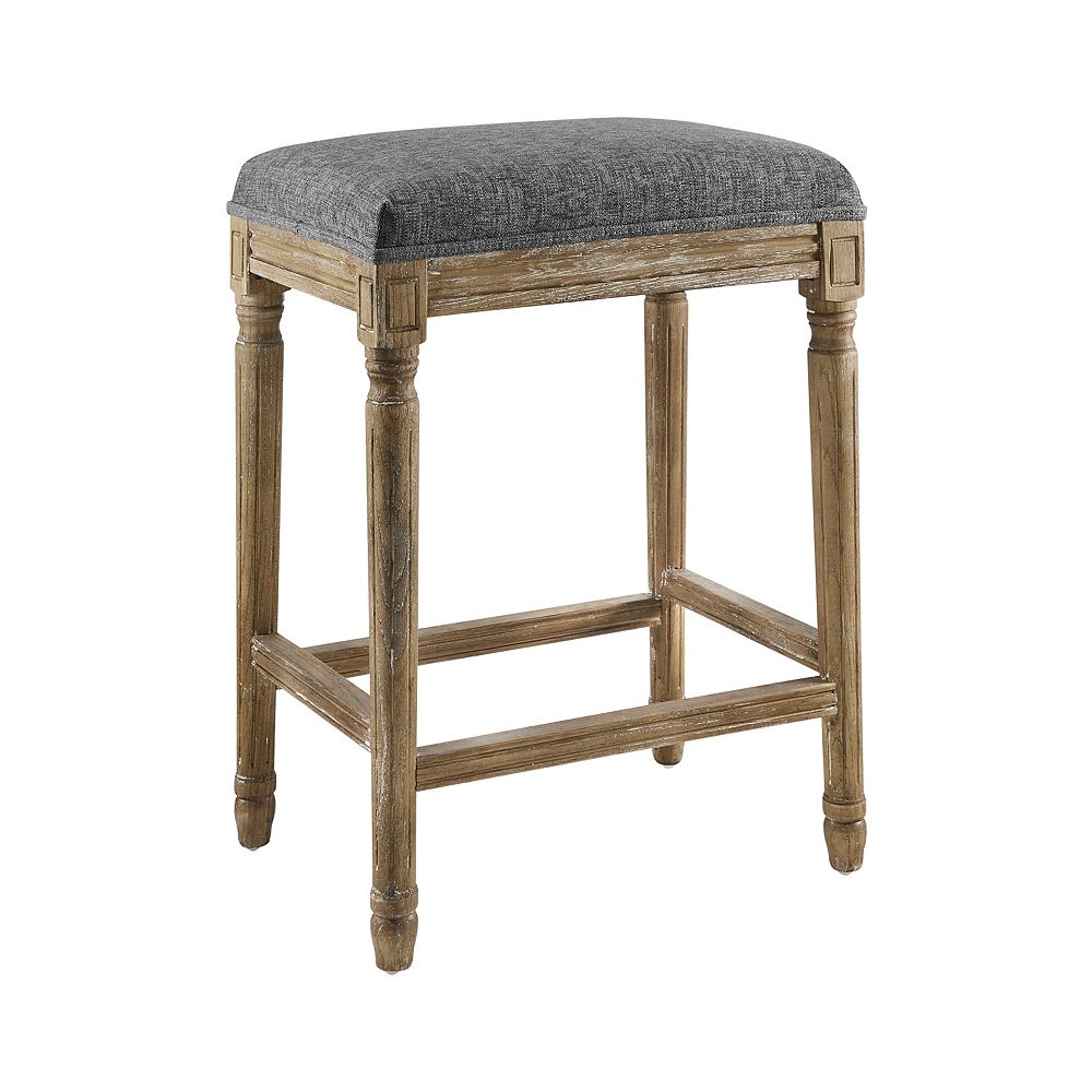 Linon Home Décor Products Mclellan Backless Counter Stool Charcoal Grey
