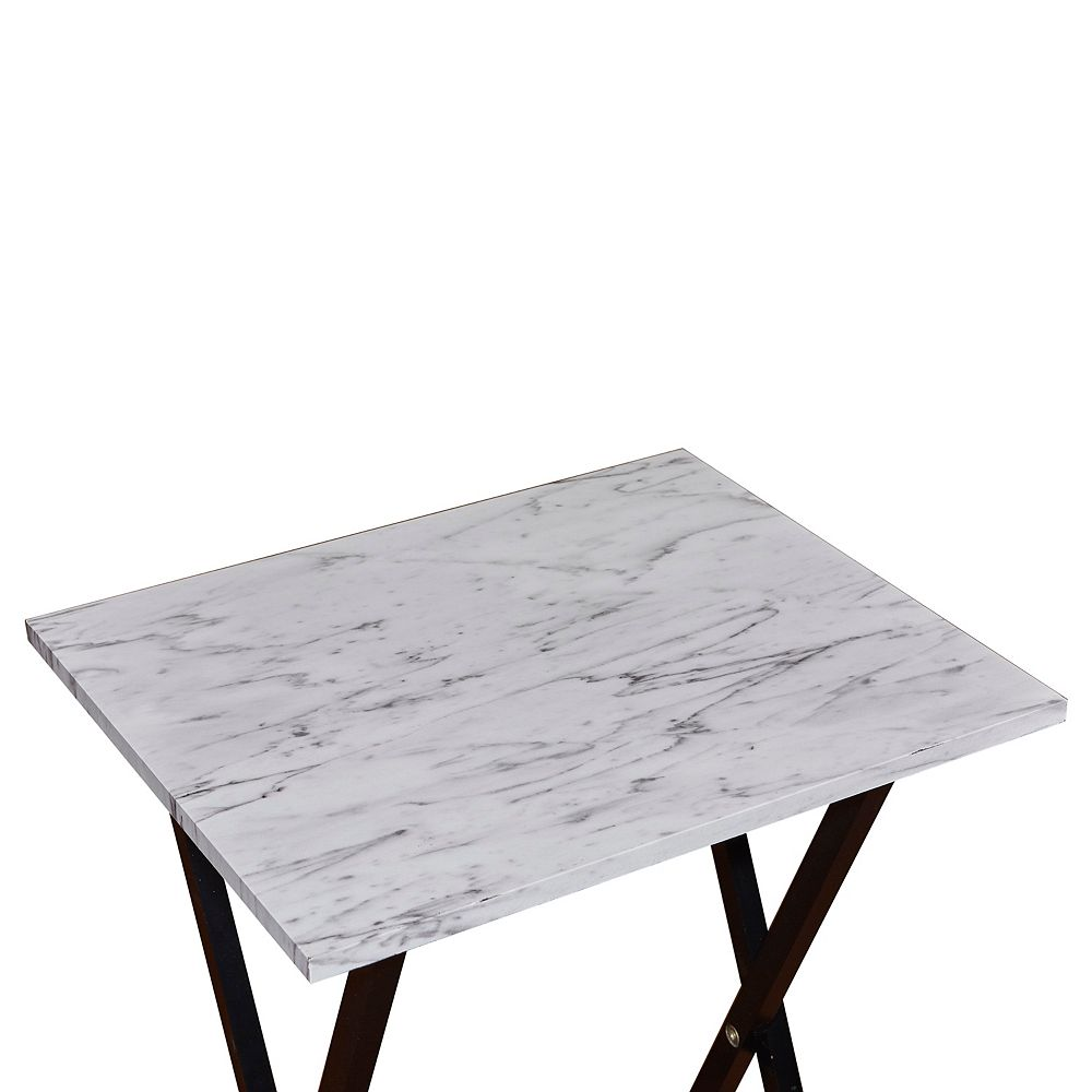 Linon Home Décor Products Camila Faux Marble Tray Table Set White