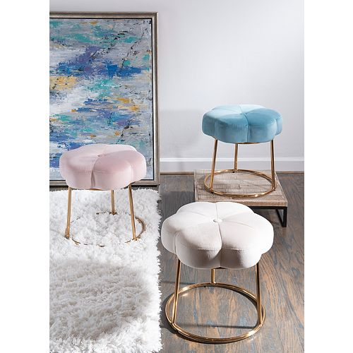 Linon Home Décor Products Delilah Accent Vanity Stool Blue