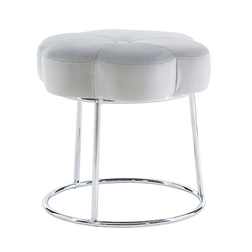 Linon Home Décor Products Delilah Accent Vanity Stool Grey