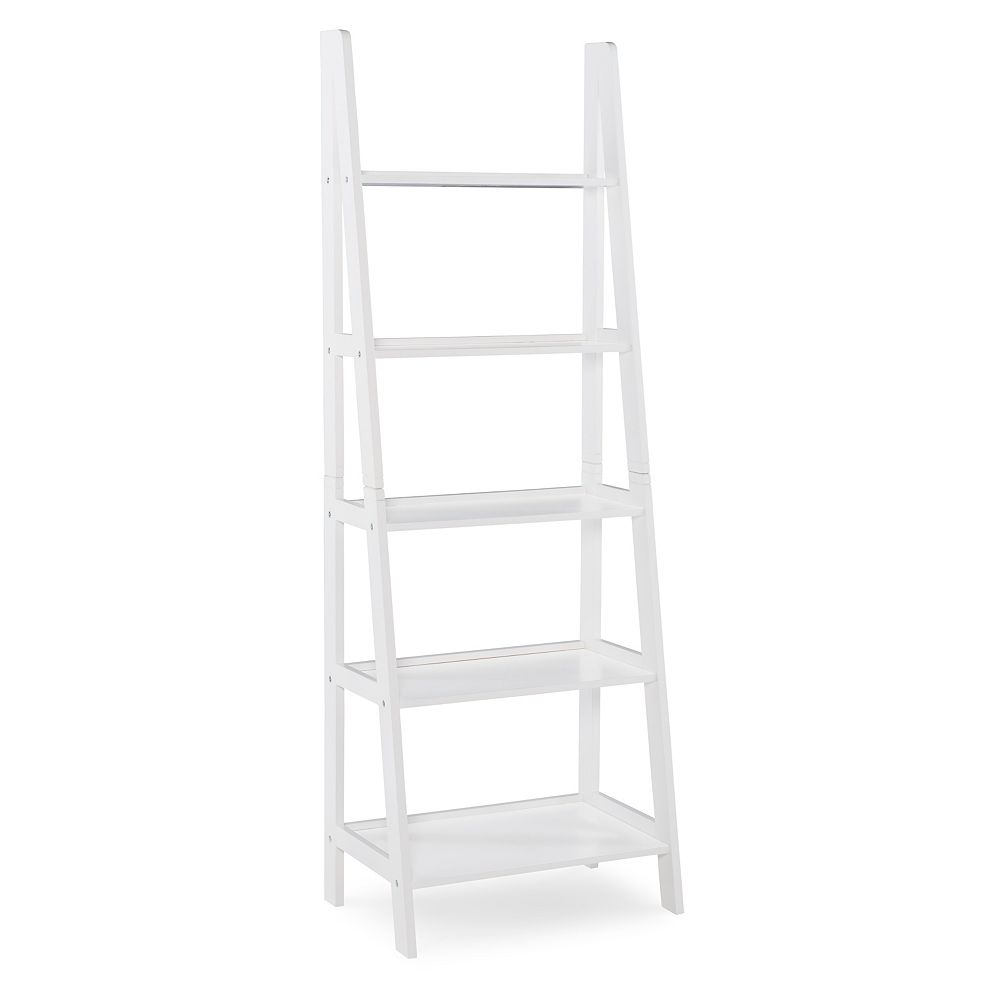 Linon Home Décor Products Campbell Ladder Bookshelf White