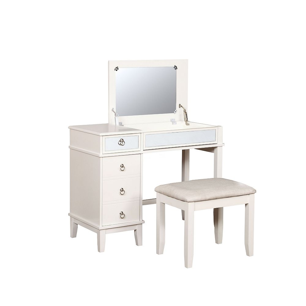 Linon Home Décor Products Casey White Vanity Set