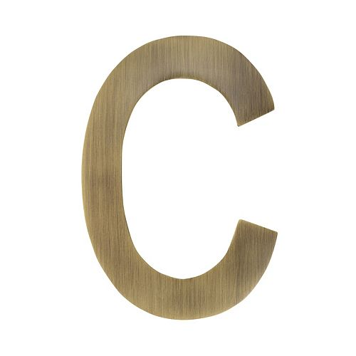 4 inch Floating House Letter C, Antique Brass