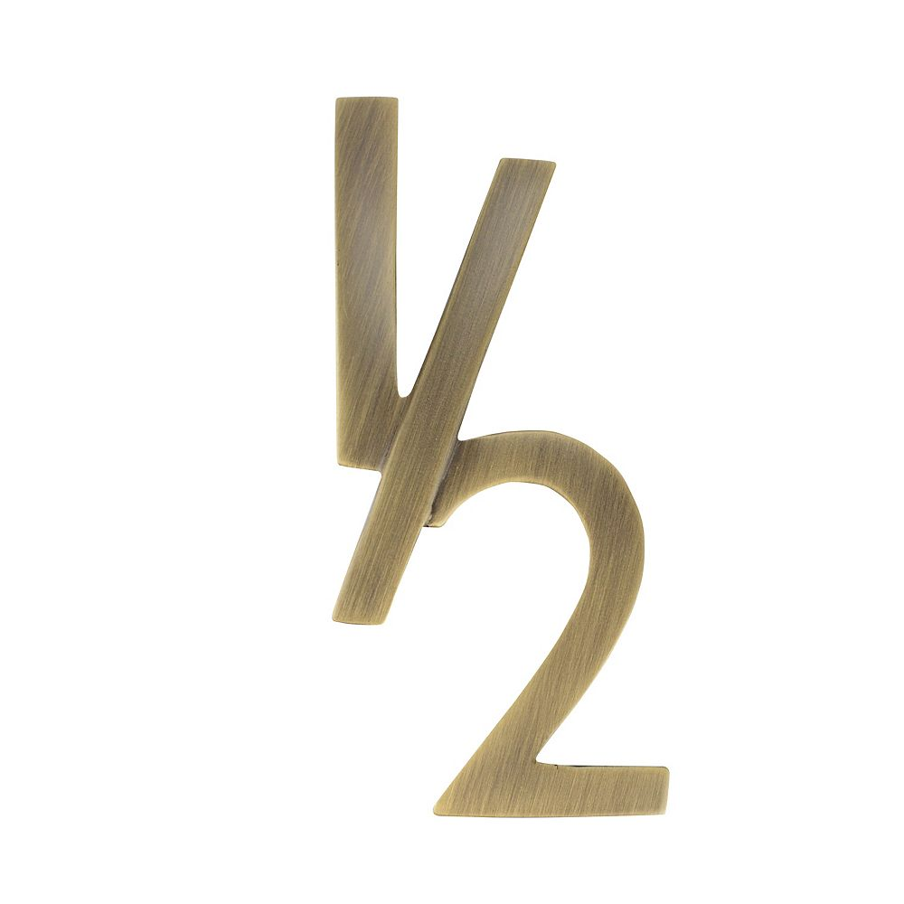 Architectural Mailboxes 4 inch Floating House Number Half, Antique Brass