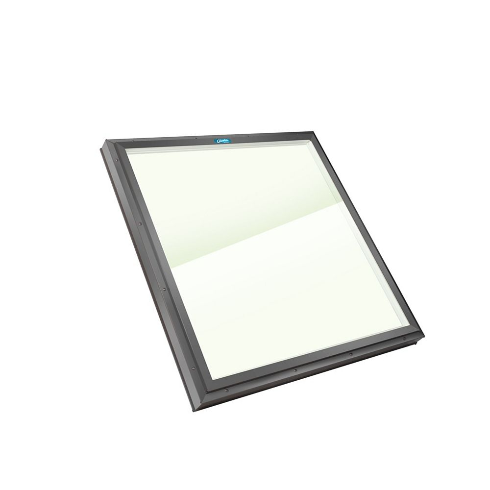 Columbia Skylights 2ft 8in x 2ft 8in Fixed Curb Mount LoE3 Double Glazed Clear Glass Skylight with Grey Frame